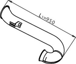 Труба випуск.DAF 95XF/XF95 konc. -06 Fi 127 Dinex